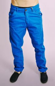 Blue Cotton Turn Up Chinos